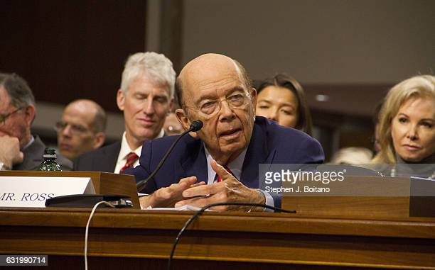 Wilbur Ross picked by Presidentelect Donald Trump to serve as his commerce secretary testifies at his confirmation hearing in front of the Senate...