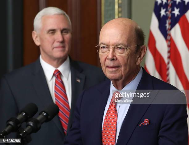 Wilbur Ross speaks after being sworn in as Commerce Secretary by Vice President Mike Pence on February 28 2017 in Washington DC