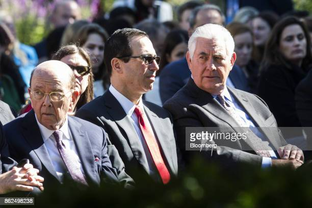 Wilbur Ross US Secretary of Commerce from left Steve Mnuchin US Secretary of Treasury and Rex Tillerson US Secretary of State wait for the start of a...