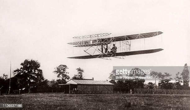 Wilbur Wright American aviation pioneer at the controls of his biplane at Le Mans France on 4th March 1908