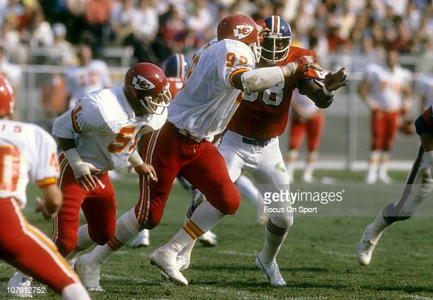Wilbur Young of the Kansas City Chiefs in action against the Denver Broncos during an NFL football game at Mile High Stadium circa 1975 in Denver...