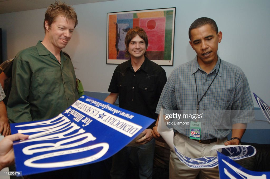 Wilco and Senator Barack Obama during FARM AID 2005 Presented by SILK Soymilk at Tweeter Center in Tinley Park, Illinois, United States.