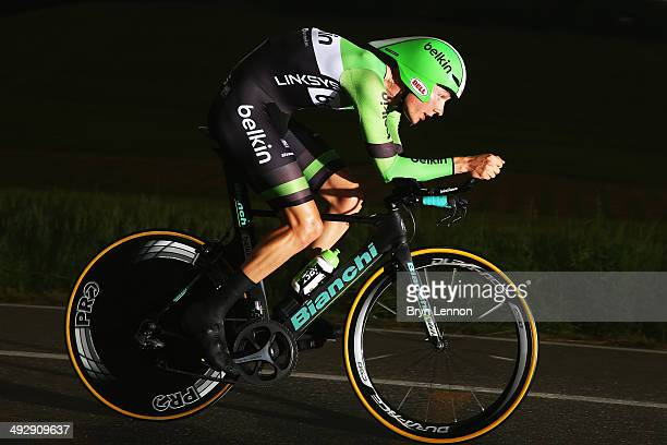 Wilco Kelderman of the Netherlands and Belkin in action during the twelfth stage of the 2014 Giro d'Italia a 42km Individual Time Trial stage between...
