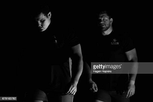 Wilco Louw and Oli Kebble of the Stormers take the field to warm up during the round 11 Super Rugby match between the Hurricanes and the Stormers at...