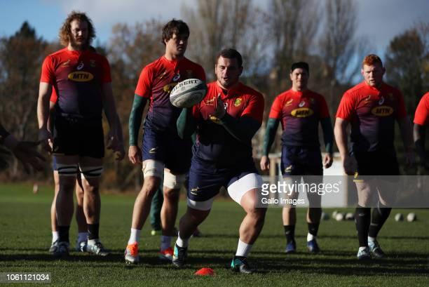 Wilco Louw in action during the South African national rugby team training session at Peffermill Sports Fields on November 13 2018 in Edinburgh...
