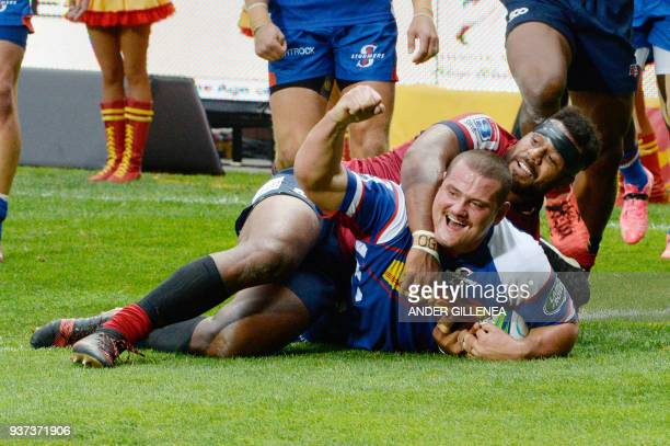 Wilco Louw of the Stormers celebrates scoring a try during their Super Rugby match between Stormers and Reds at the Newlands Stadium on March 24 in...