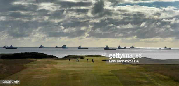 Wilco Nienaber of Republic of South Africa and Perry Cohen of Switzerland at the 1st hole during the fourth day of The Amateur Championship at Royal...