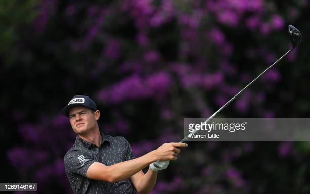 Wilco Nienaber of South Africa plays his tee shot on the 10th hole during Day One of the South African Open at Gary Player CC on December 03, 2020 in...