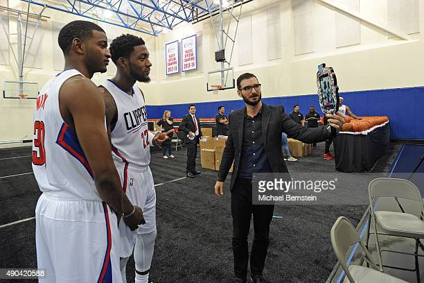 J Wilcox and Branden Dawson of the Los Angeles Clippers pose for a photo with the Twitter Mirror during media day at the Los Angeles Clippers...