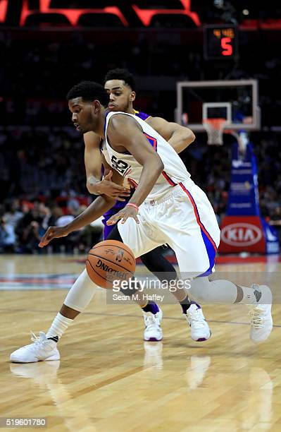 J Wilcox of the Los Angeles Clippers dribbles past D'Angelo Russell of the Los Angeles Lakers during an NBA game between Los Angeles Clippers vs Los...