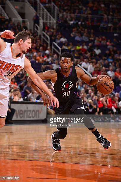 J Wilcox of the Los Angeles Clippers drives to the basket against the Phoenix Suns on April 13 2016 at Talking Stick Resort Arena in Phoenix Arizona...