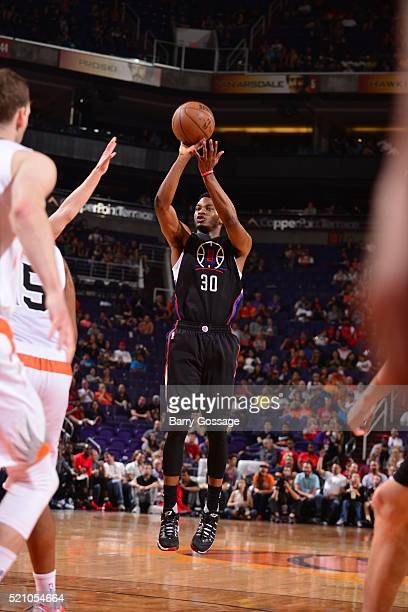 J Wilcox of the Los Angeles Clippers shoots against the Phoenix Suns on April 13 2016 at Talking Stick Resort Arena in Phoenix Arizona NOTE TO USER...