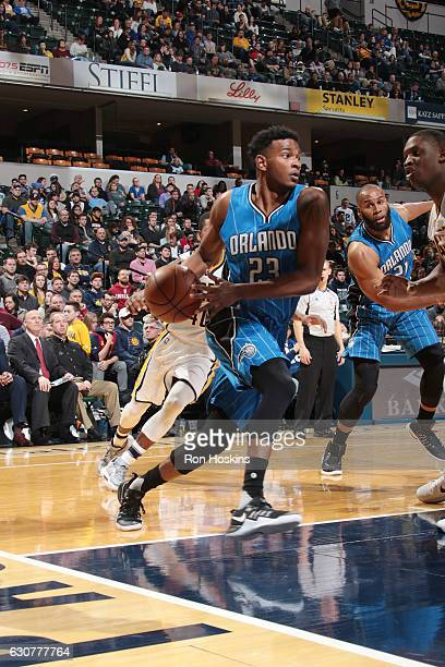 J Wilcox of the Orlando Magic drives to the basket during a game against the Indiana Pacers on January 1 2017 at Bankers Life Fieldhouse in...