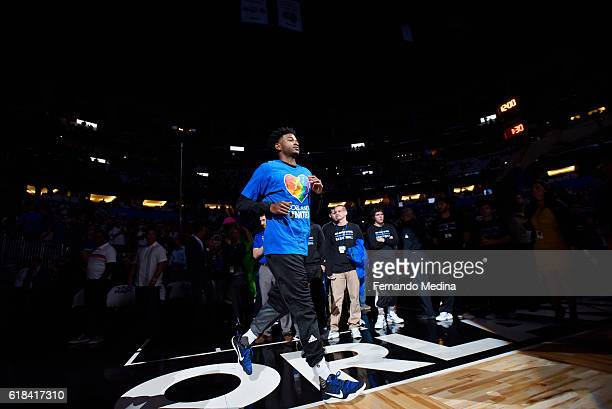 J Wilcox of the Orlando Magic gets introduced before the game against the Miami Heat on October 26 2016 at Amway Center in Orlando Florida NOTE TO...