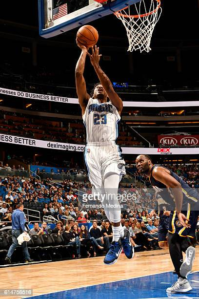 J Wilcox of the Orlando Magic goes up for a shot during a preseason game against the Indiana Pacers on October 14 2016 at Amway Center in Orlando...