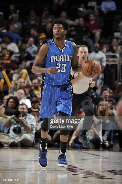 J Wilcox of the Orlando Magic handles the ball against the Cleveland Cavaliers on October 5 2016 at Quicken Loans Arena in Cleveland Ohio NOTE TO...