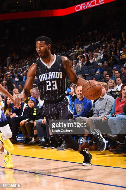 J Wilcox of the Orlando Magic handles the ball during a game against the Golden State Warriors on March 16 2017 at ORACLE Arena in Oakland California...