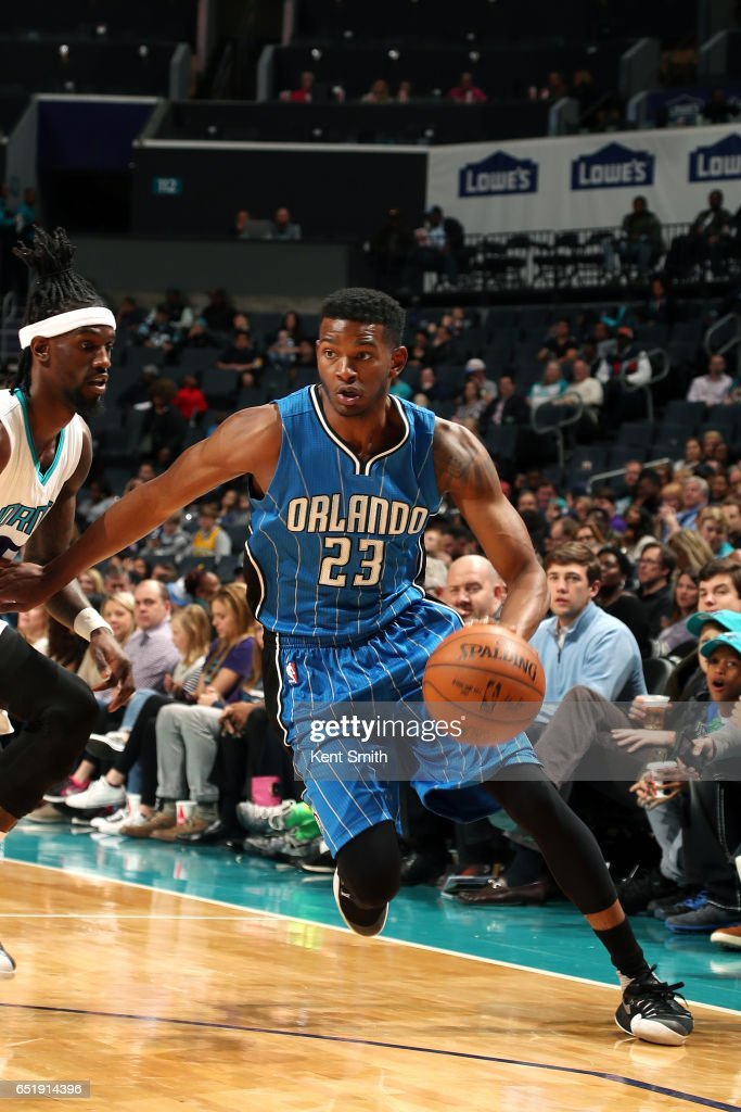 CJ Wilcox #23 of the Orlando Magic handles the ball during the game against the Charlotte Hornets on March 10, 2017 at Time Warner Cable Arena in Charlotte, North Carolina.
