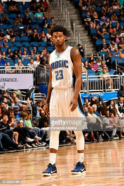 J Wilcox of the Orlando Magic looks on during a preseason game against the Atlanta Hawks on October 16 2016 at Amway Center in Orlando Florida NOTE...