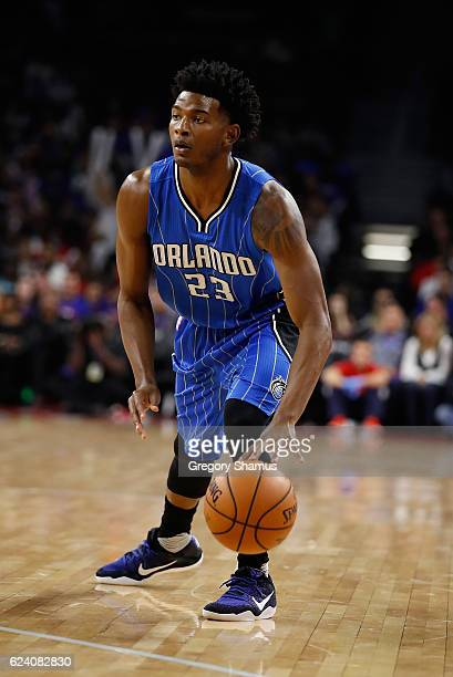 J Wilcox of the Orlando Magic plays against the Detroit Pistons at the Palace of Auburn Hills on October 28 2016 in Auburn Hills Michigan NOTE TO...