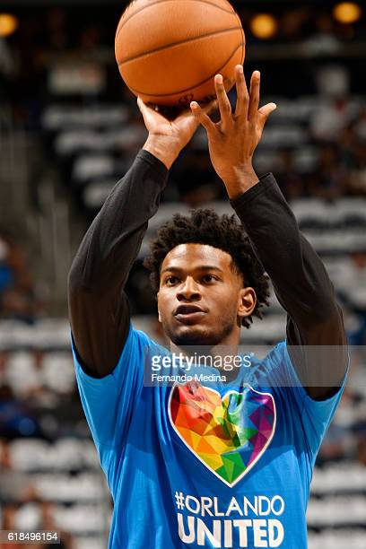 J Wilcox of the Orlando Magic shoots a free throw before the game against the Miami Heat on October 26 2016 at Amway Center in Orlando Florida NOTE...