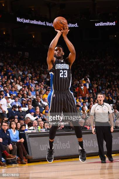 J Wilcox of the Orlando Magic shoots the ball during a game against the Golden State Warriors on March 16 2017 at ORACLE Arena in Oakland California...