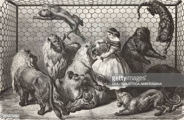Wild animals tamed by Madame Labarere at the Cirque Napoleon drawing by Gustave Dore engraving by Trichon illustration from Musee FrancaisAnglais n...