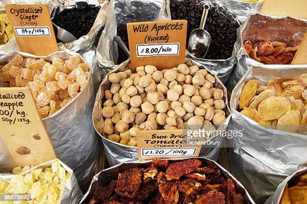 Wild apricots on market stall