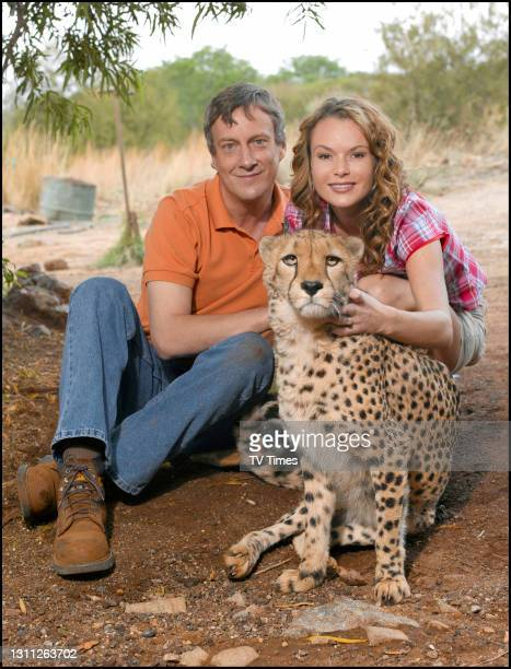 Wild At Heart actors Amanda Holden and Stephen Tomkinson photographed with a cheetah, on September 29, 2007.