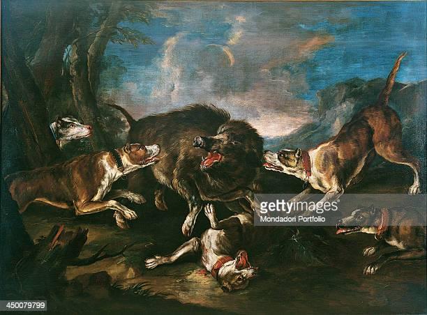 Wild boar hunt by Giovanni Crivelli known as Crivellino 18th Century oil on canvas