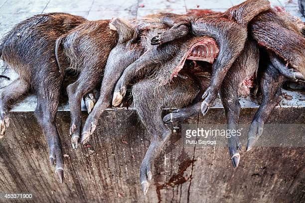 Wild boar thighs for sale at Langowan traditional market on August 9 2014 in Langowan North Sulawesi The Langowan traditional market is famous for...