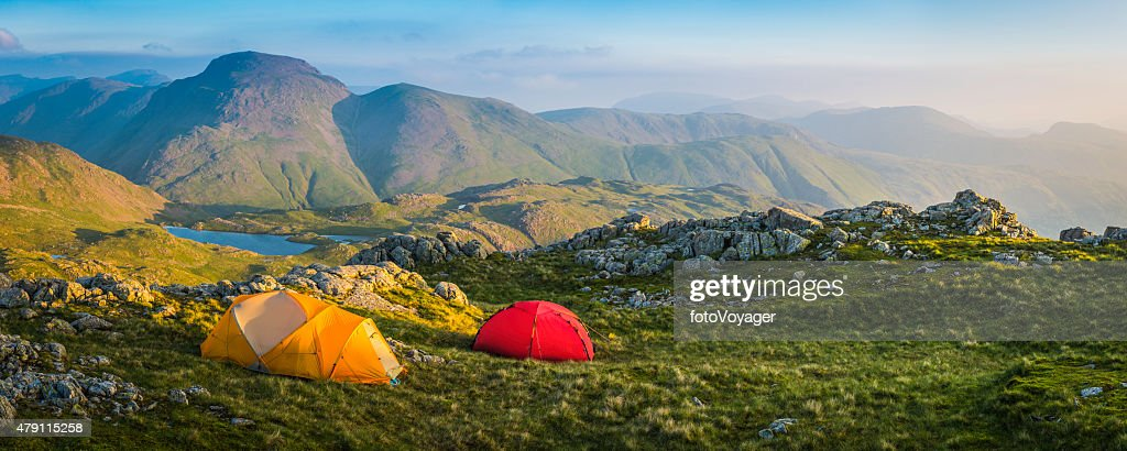 Wild Camp Tents On Mountain Top Lake District Sunrise ...