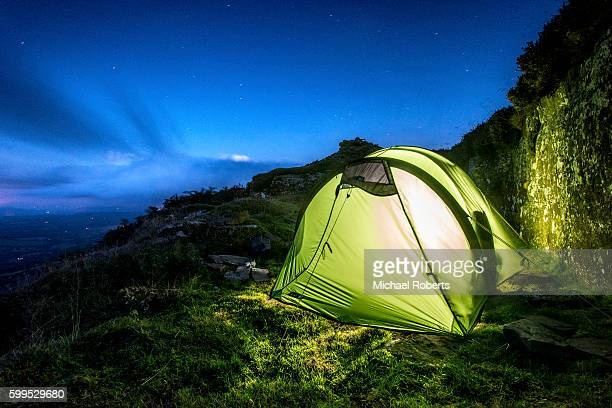 Wild camping on Black Hill in the Black Mountains on the border between England and Wales.