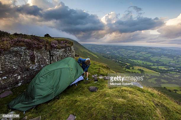 Wild camping on the ridge of Black Hill in the Black Mountains on the border between England and Wales.