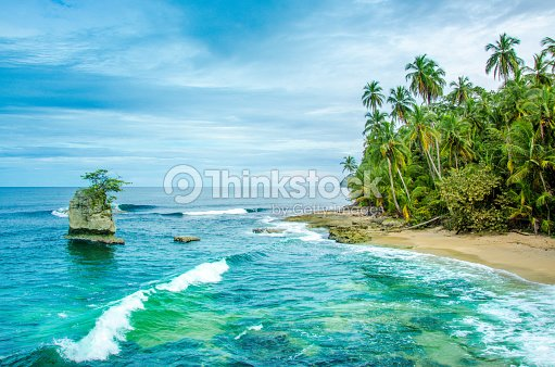 Wild Caribbean Beach Of Costa Rica Manzanillo Stock Photo