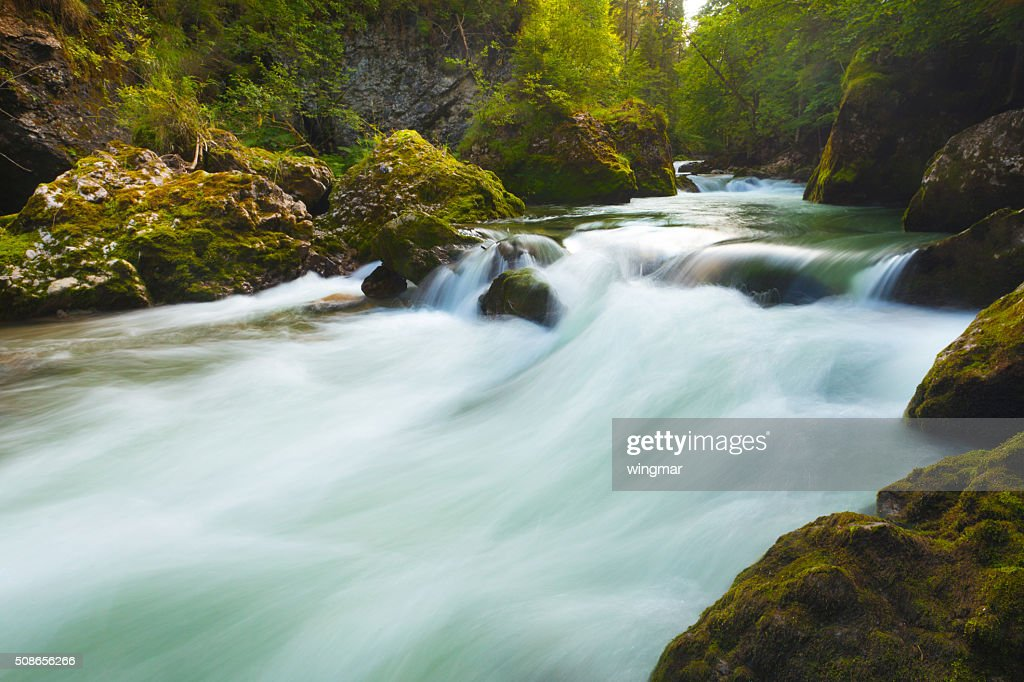 wild cascade in bavaria - germany : Stock Photo