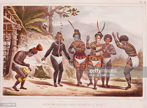 Wild dance in San Jose Mission by JB Debret from A Picturesque and Historic Voyage to Brazil Brazil 19th Century