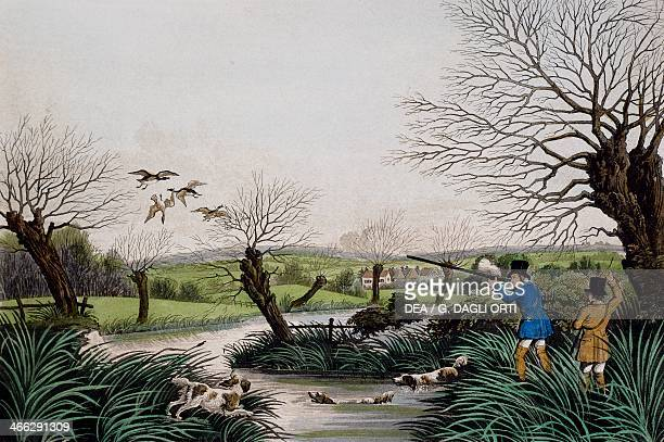 Wild duck hunting near Cowley engraving by Robert Havell Jr