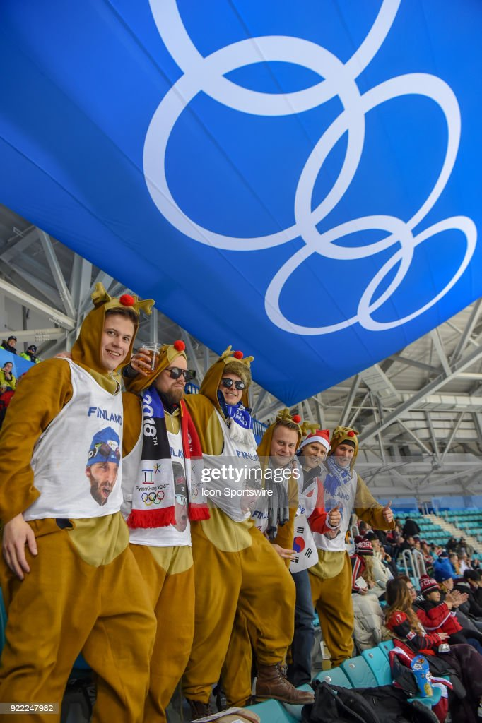 Wild Finland fans came dressed for the cold weather during the men's hockey semi final game between Canada and Finland during the 2018 Winter Olympic Games at the Gangneung Hockey Center on February 21, 2018 in PyeongChang, South Korea. Canada advances to the gold medal game with 1-0 victory.