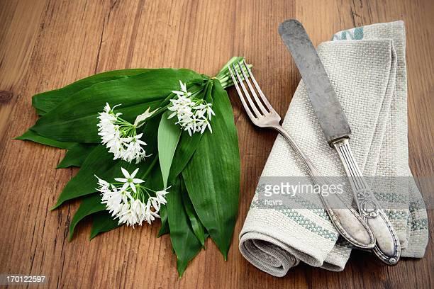 Wilder Knoblauch (Allium ursinum) und Antik-Silber