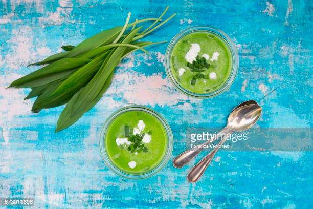 Wild garlic soup and fresh ramson leaves