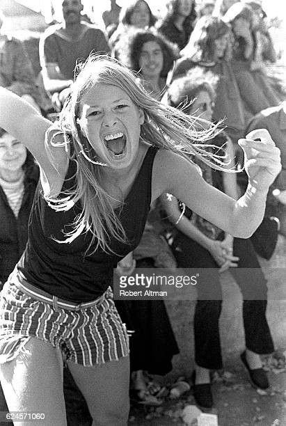 A wild girl dances during Provo Locomotion Day in September 1969 in Berkeley California