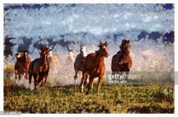 cavalli selvaggi - tecnica digitale mista - miglioramento digitale foto e immagini stock