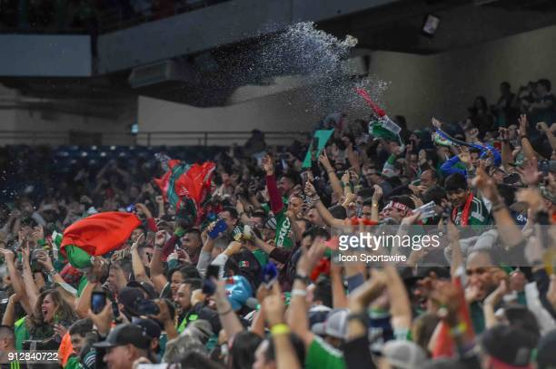 Wild Mexico fans toss their beers into the air celebrating a second half goal during the soccer match between Mexico and Bosnia Herzegovina on...