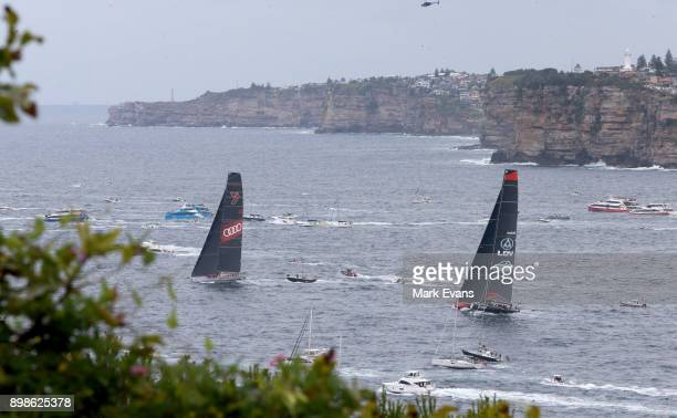 Wild Oats XI and Commanche after the start of the Sydney to Hobart Yacht Race on Sydney Harbour during the 2017 Sydney to Hobart on December 26 2017...