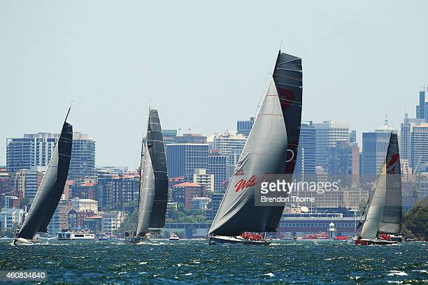 'Wild Oats XI' at the start of the 2014 Sydney To Hobart on December 26 2014 in Sydney Australia