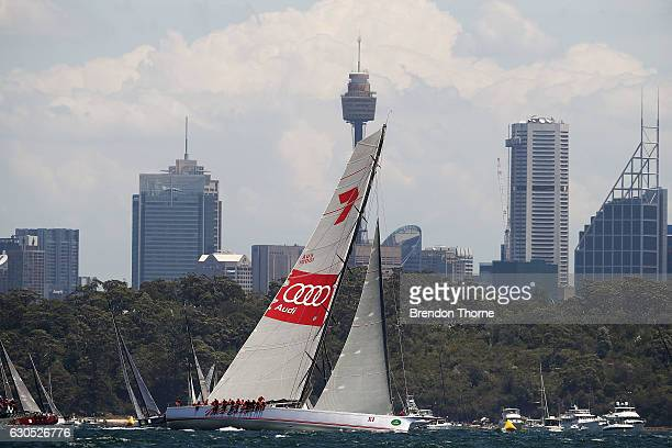 'Wild Oats XI' competes at the race start during the 2016 Sydney To Hobart Yacht Race on December 26 2016 in Sydney Australia