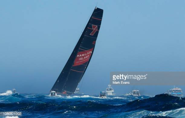 Wild Oats XI during the start of the Sydney to Hobart Yacht race on December 26 2018 in Sydney Australia