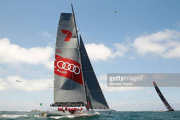 'Wild Oats XI' follows leader 'Comanche' out of Sydney heads during the 2014 Sydney To Hobart on December 26 2014 in Sydney Australia