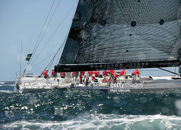 Wild Oats XI heads out of Sydney Harbour during the start of the 63rd Sydney Hobart Yacht Race on December 26 2007 in Sydney Australia The fleet of...